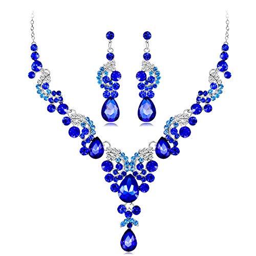 TREESTAR Set Ohrringe Halskette Schmuck Damen Hochzeit Zubehör Schmuck Ofen Hochzeit Bankett, Legierung, blau, M