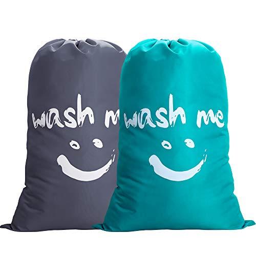 IHOMAGIC Set de 2 Bolsa de Colada con Cuerda Nilón Cesto para Ropa Sucia Plegable para Baño con Organizador Lavandería para Cocina Dormitorio Hotel de Viaje Gran Capacidad 120L Gris + Azul Sonrisa