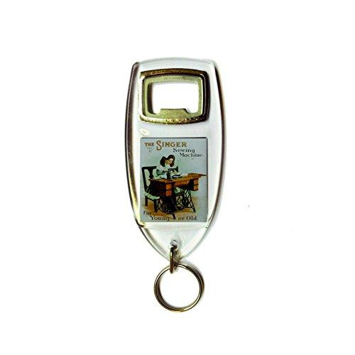 De Singer naaimachine voor jong of oud retro shabby chic vintage stijl acryl sleutelhanger sleutelhanger en flesopener