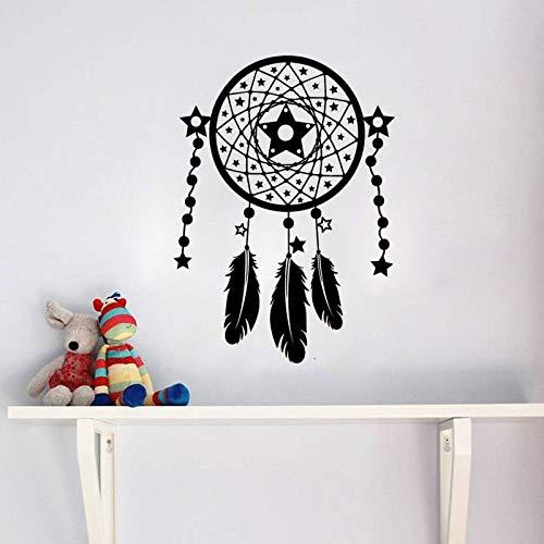 hetingyue Dromenvanger Indiase vogelveer slaapkamer muursticker behang decoratie afneembare vinyl sticker kunst muurschildering