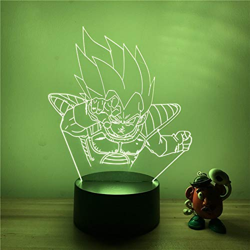 Dragon Ball Z Vegeta Battle Ver. Super Saiyan 3D LED-nachtlampje 7 kleuren Touch optische illusie Action Figure tafellamp