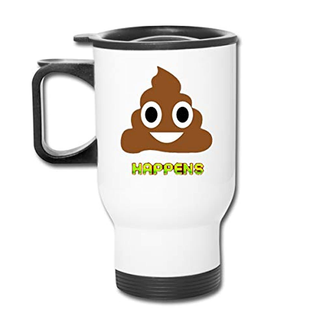 BInfef Shit Happens Poop Emoji Emoticon Coffee/Tea/Car Mugs Cups Tumbler Office Staff Insulated Travel Car Spill Proof Flip Lid White Easy to Hold Handle 450ml