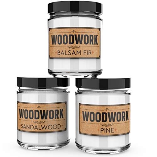 Old Factory Scented Candles for Men - Woodwork - Decorative Aromatherapy - Handmade in The USA with Only The Best Fragrance Oils - 3 x 4-Ounce Soy Candles