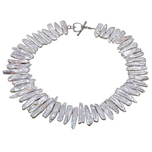 JYX Perlenkette weiß Süßwasserperlenkette, Biwa, 7 x 20 mm, weiß, Halskette 45,7 cm