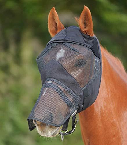 WALDHAUSEN Fliegenmaske Premium ohne Ohren- mit Nasenschutz, schwarz, Vollblut