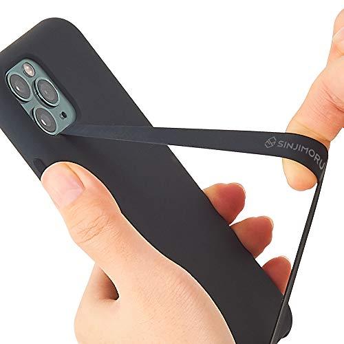 Sinjimoru Silikon Handy Halterung für Finger Handy Halter für Handyhülle Handy Fingerhalter Fingerhalterung Handy Phone Strap für iPhone und Android, Sinji Loop. (Schwarz)