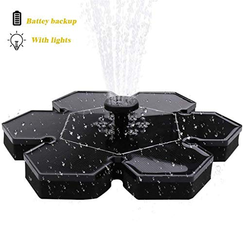 Luces LED Ice Flower Bird Bath Sun fuente flotante Fuente, Bomba flotante...