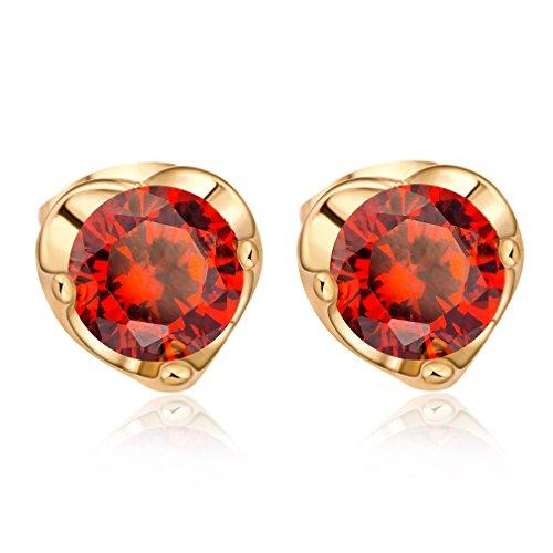 YAZILIND 18 k chapado en oro mujer joyer¨ªa exquisita corte chispas rhinestone Stud pendiente (rojo)