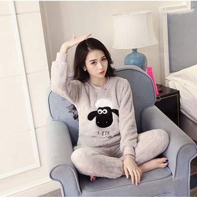 GSHFK Pijama Mujer Franela Gruesa Cálido Conjunto de Pijama de Invierno Femenino Sueño Animal Print Manga Larga Pantalón Completo Dos Piezas Top Moda