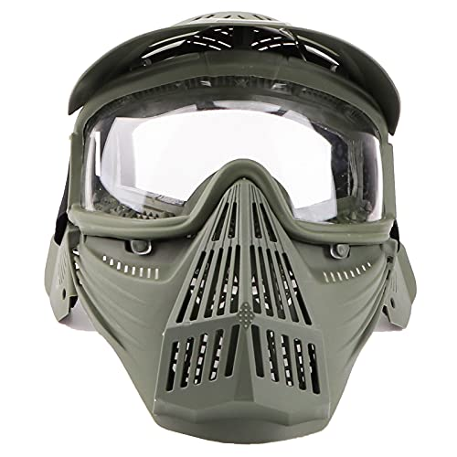 Senmortar Paintball Mask Airsoft Masks Olive & ClearLens Full Face Tactical Protection Gear with Glasses for Halloween BBS CS Game Costume Accessories Motocross Skiing
