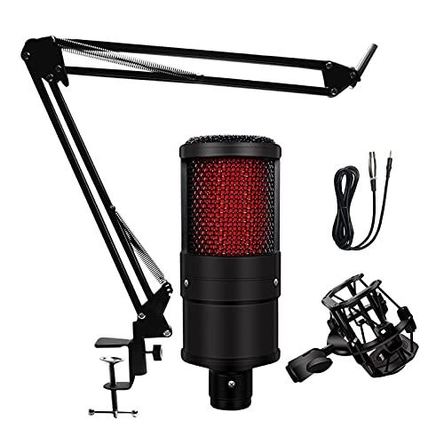 Micrófono Micrófono con condensador V500 para teléfonos inteligentes y portátil 3,5 mm de forma directa con un dispositivo de grabación de soporte fuerte micrófono telefónico Para cantar ( Color : A )