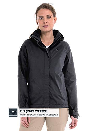 Schöffel Damen Jacket Easy L4 Wasser-und Winddichte Jacke für jedes Wetter, leichte und Flexible Regenjacke für Frauen, black, 48