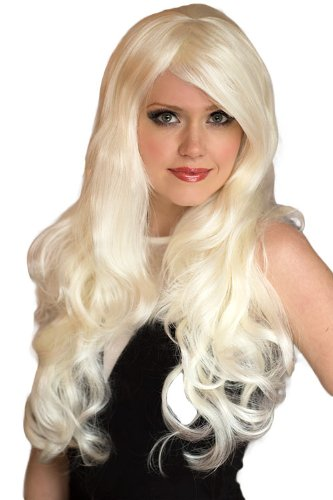 Platinum Blonde Wig With A Side Party and Big Loose Curls, Extra Long : Dolly 250 g by Annabelles Wigs