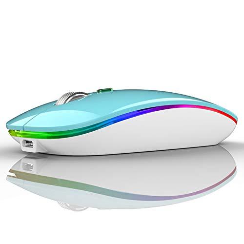 Ratón Inalámbrico Recargable, Ultra Delgado Receptor Nano Wireless Mouse 1600 dpi Ajustables Silencioso Mini Mouse Multicolor LED para Computadora Portátil, PC, Portátil, Macbook (Azul)
