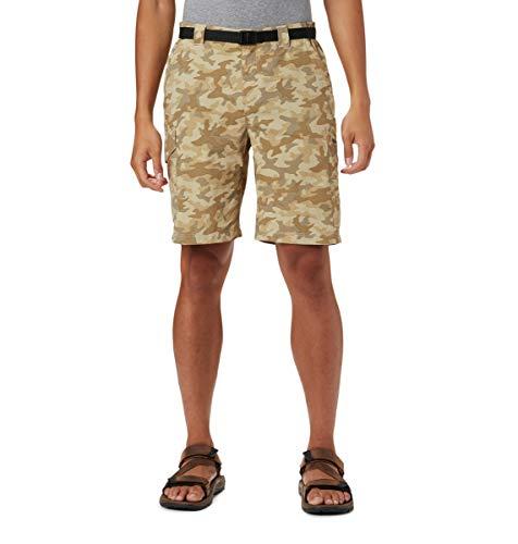Columbia Silver Ridge - Pantalones Cortos de Carga Impresos para Hombre, Absorbe la Humedad, protección Solar, Color Plateado Ridge™, Hombre, 1587031, Fossil Camo, 34x10