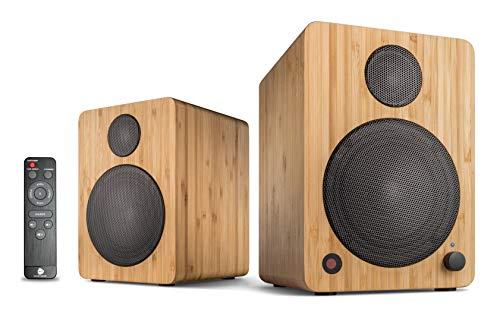 wavemaster CUBE MINI NEO bamboo - Regallautsprecher-System (36 Watt) mit Bluetooth-Streaming, Digitalanschluss und IR-Fernbedienung, Aktiv-Boxen, Nutzung für TV/Tablet/Smartphone, Bambus (66372)