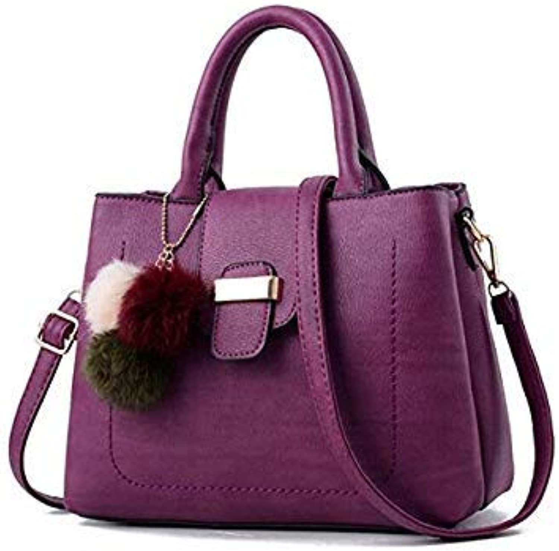 Bloomerang FGJLLOGJGSO Women Fur Handbag High Quality Handbag Women Crossbody Bags Female PU Leather Shoulder Messenger Bags Lady Tote color Purple 28CMX13CMX22CM