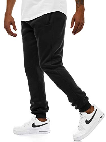 OZONEE Herren Jogginghose Hose Trainingshose Sporthose Freizeithose Unifarbe Herrenhose Sweatpants Fitnesshose Sweathose Fußballhose Jogpants Joggpants 777/888S SCHWARZ M