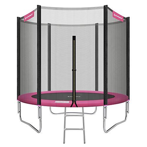 SONGMICS Trampolin Ø 244 cm, rundes Gartentrampolin mit Sicherheitsnetz, mit Leiter und gepolsterten Stangen, Sicherheitsabdeckung, TÜV Rheinland getestet, sicher, Outdoor, schwarz-pink STR081P01