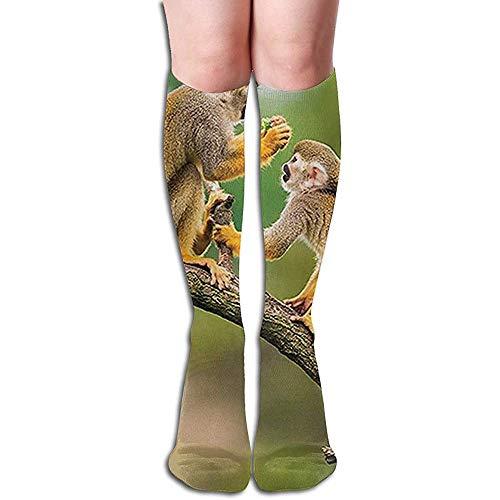 ulxjll Kniehohe Socken Zwei Gemeinsame Totenkopfäffchen Athletische Socken Rohr Socken Frauen Kompression Lange Socken Kniehohe Socken 50Cm