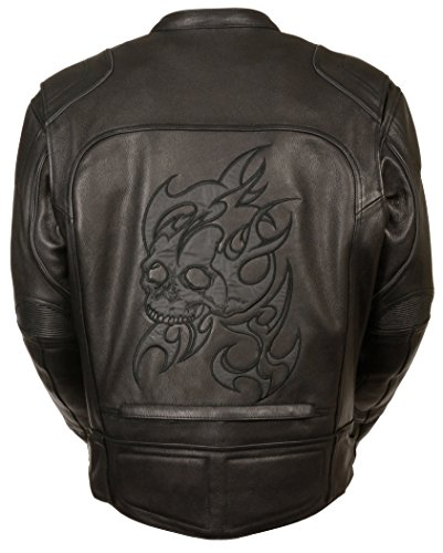 Men's Leather Motorcycle Jacket w/Reflective Flame & Skull w/Piping & 2 Inside Gun Pockets (4X - Big)