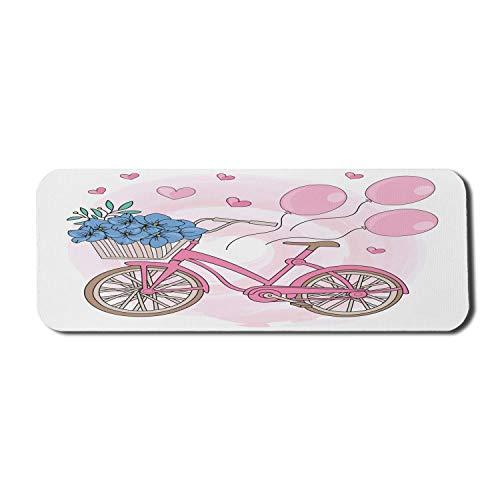 Fahrrad Computer Mouse Pad, Cartoon Fahrrad mit Luftballons Blumen und Herzen, Rechteck rutschfeste Gummi Mousepad große warme Taupe Pink