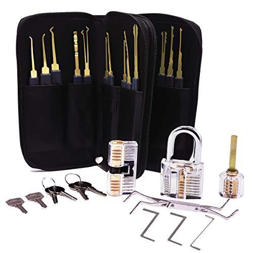 Reyke 24 Stück Profi Lockpicking-Set, Dietrich Set mit 3 transparentes Übungsschloss, Hauptschlüssel für Anfänger oder erfahrene Schlosser, in Aufbewahrungstasche