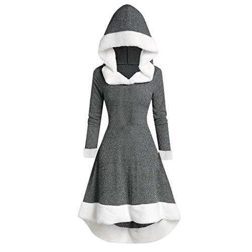 Lazzboy Partykleid Damen Winter Langarm Patchwork Mit Kapuze Vintage Kleid Mittelalter Bodenlangen Cosplay Dress Kleidung Renaissance Kostüm Lang Halloween (Grau, L)