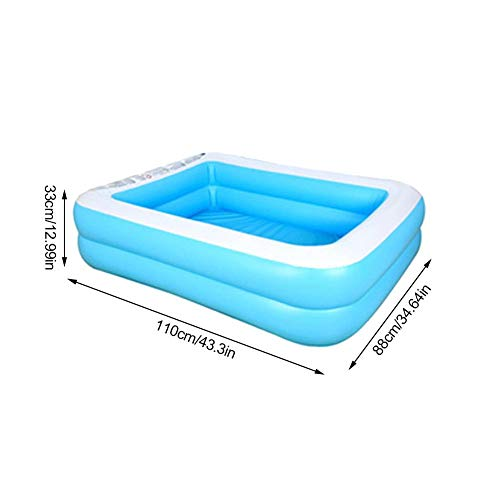 Childlike Piscina Hinchable Rectangular, Piscina Inflable Infantil, Familiar Engrosado PVC Ecológico Piscina, Piscina Easy Set, Bañera Hinchable para Niños Y Adultos - 110 X 88 X 33 CM