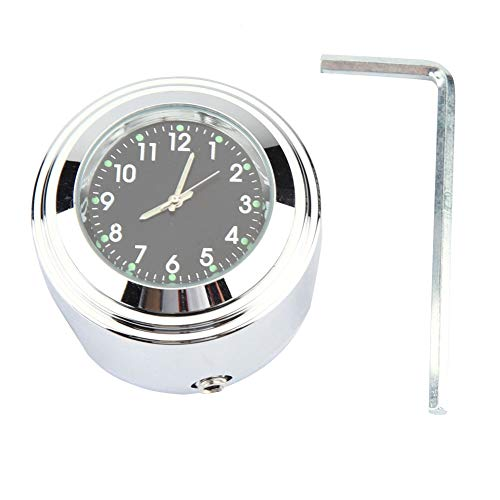 "Reloj de Manillar de Motocicleta EVGATSAUTO, Reloj de Montaje de Manillar de Motocicleta de 7/8 ""1"" Reloj de dial de Tiempo preciso(Negro)"