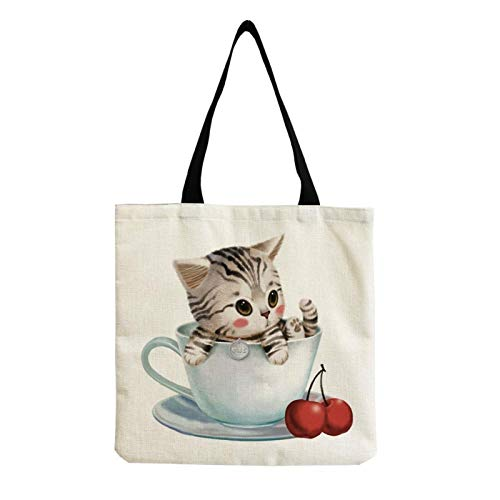 Neaer Tote bag Large Capacity Cute Cat Lady Shoulder Bag Art College Students Eco Friendly Storage Tote All-Match Preppy Style Document Handbag Handbags (Color : Hm0036)