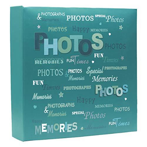 Dokpav Tamaño Grande Recuerdos Felices Antideslizante In Case álbum de Fotos de Anillas Capacidad para 200 Fotos10 x 15 (Azúl)