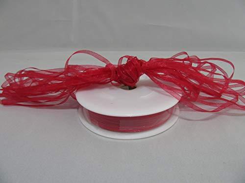 Beautiful Ribbon 1 Rouleau de Ruban en Organza 3mm Pure x 50 mètres Rouge Double Face faveurs 3 mm