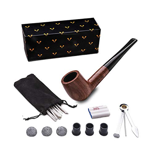 Tobacco Pipe Set, Free Boy Handmade Wooden Straight Stem Smoking Pipe with Accessories (Filter Elements, Filter Balls, 3 in 1 Scraper, Pipe Cleaners, Pipe Tip Grips, Bag, Box)
