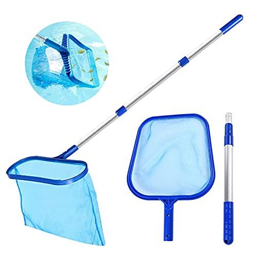 FGen Schepnet voor zwembad, oppervlakteschepnet met telescoopstang, reinigingsgereedschap voor zwembad, vijver, aquarium…