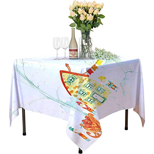 Fairy Tree Deep Dream Tablecloths Watercolor Style Forest with Gnomes and a House Christmas Vibes Kitchen Household Tablecloth W55 xL55 Vermilion and Multicolor