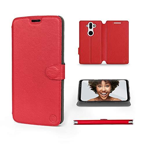 Mobiwear | Echt Lederhülle | Kompatibel mit Nokia 8 Sirocco, Made in EU handyhülle, Slim Leather Hülle, Premium Flip Schutzhülle, Transparent TPU Silicon, Book Style, Tasche - Rotes Leder