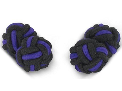 TEROON Manschettenknöpfe Seidenknoten Schwarz-lila