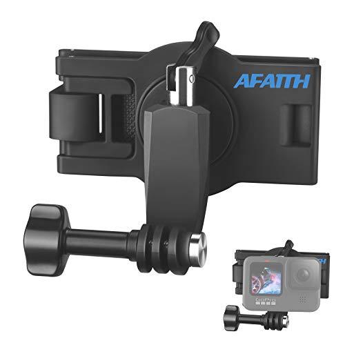 AFAITH 360 ° Drehbarer Verstellbarer Rucksack Schultergurthalterung Cliphalterung für GoPro Hero 10/9/8/7/6/5/4/3 +, OSMO Action, Xiaoyi 4K und die meisten Action-Kameras