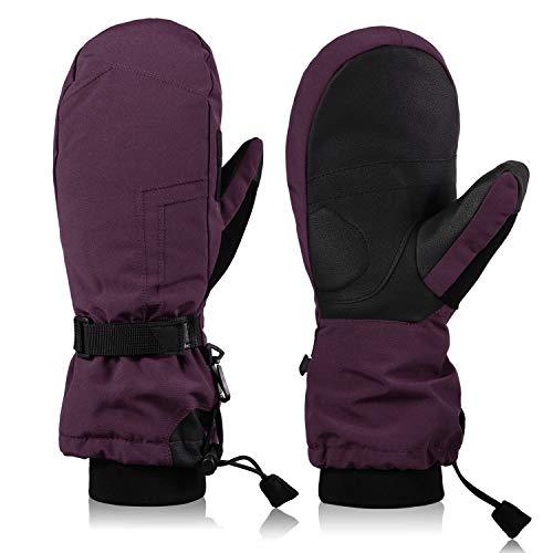 Andake Fäustlinge Damen, warme wasserdichte atmungsaktive Fausthandschuhe für Skifahren, Snowboarden, Reisen, Wandern und Wintersport
