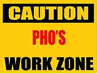 ANY AND ALL GRAPHICS Funny Caution PHO Work Zone Novelty Decorative 9