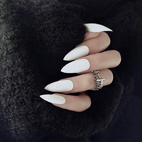 Simsly mat faux ongles appuyez longuement sur les ongles ballerine blanche pure couleur pleine couverture cercueil faux ongles pour femmes (24pcs)