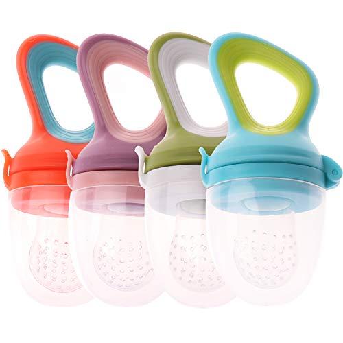 Fruchtsauger WENTS 4 Stück Fruchtsauger für Baby Silikon Schnuller Beißring für Obst Gemüse Brei, BPA frei Gemüse Brei Beikost,Fruchtsauger für Baby & Kleinkind(Größe: M/4 Farben)