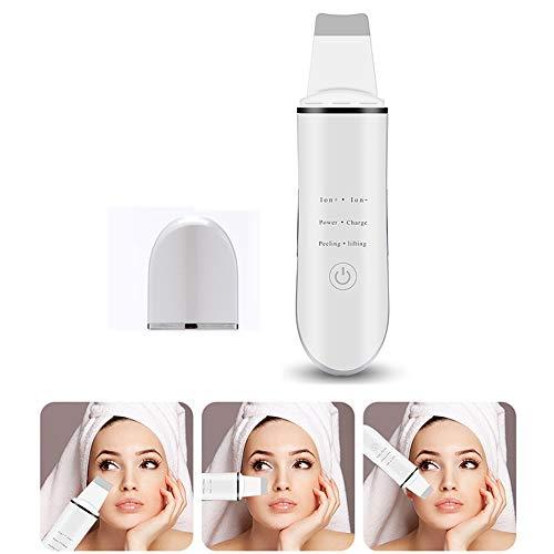 MOXIN Épurateur Ultrasonique de Peau Vibration Peeling Machine, Skin Scrubber Visage Nettoyage à Aspirateur Point Noirs Nettoyer Les Pores Acné Ridules,Blanc