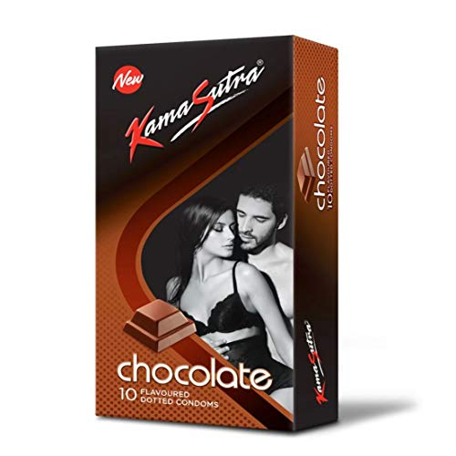 KS KAMASUTRA Tan Coloured Chocolate Flavour Lubricated Natural Rubber Latex Condom for Men - Pack of 10