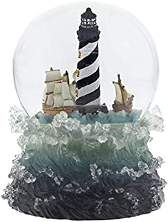 Lighthouse Globe Nautical Blue Resin 7 x 5 Music Figurine Plays Over The Waves