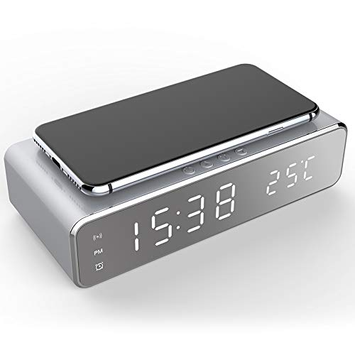 Kabelloser Lade-Wecker, LED Elektrischer Wecker mit Telefonladegerät Wireless Desktop Digital Thermometer Uhr Uhr Spiegel mit Zeitspeicher