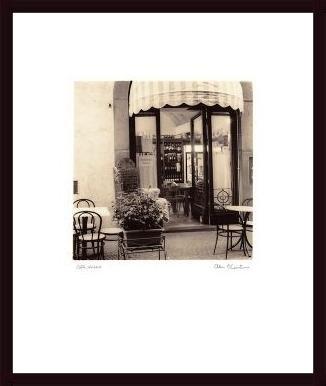 Caffe, Umbria, framed black wood, white matte