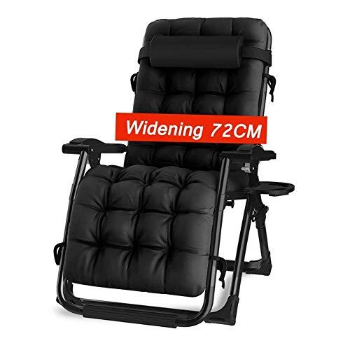 BJYG Tumbona reclinable Extra Ancha Tumbona Plegable Plegable Patio al Aire Libre Jardín Jardín Patio con reposabrazos y Acolchado de algodón Perlado Carga 200 kg de sillas de Gravedad