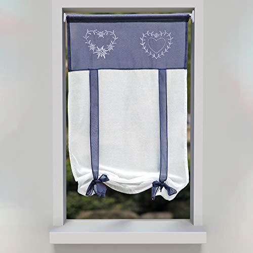 SIMPVALE 1 Pezzo Tie up - Tenda in Voile Tulle Ricamo Romano Tenda - Tende Pannelli Finestra per Camera da Letto, Studio, Bagno, Cucina, Blu, 60x120cm